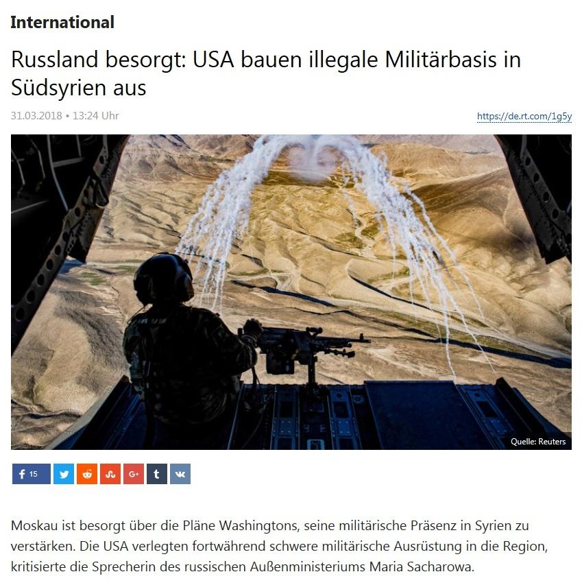 International - Russland besorgt: USA bauen illegale Militärbasis in Südsyrien aus