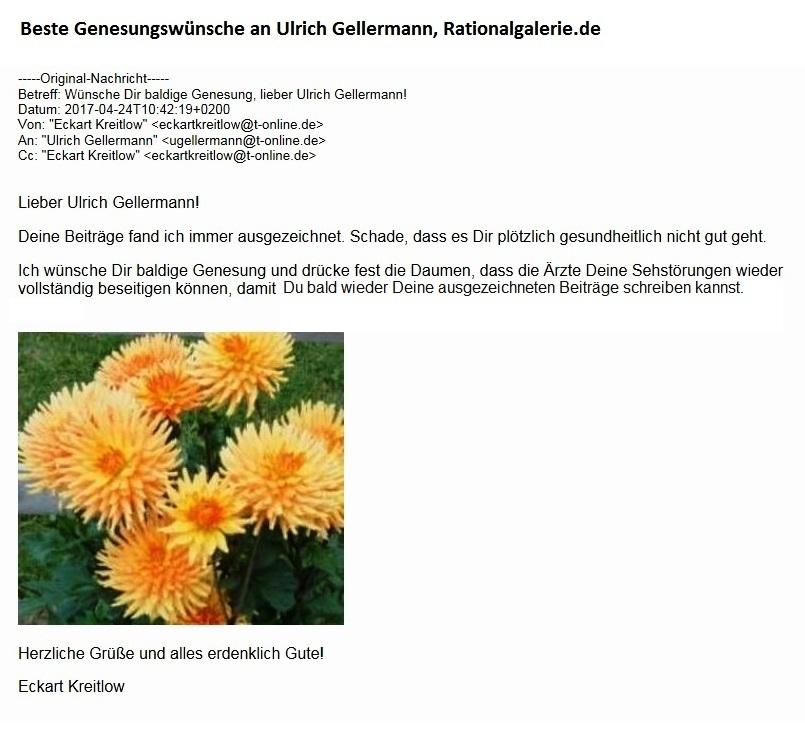 Rationalgalerie macht Pause - Beste Genesungswünsche an Ulrich Gellermann - Rationalgalerie.de