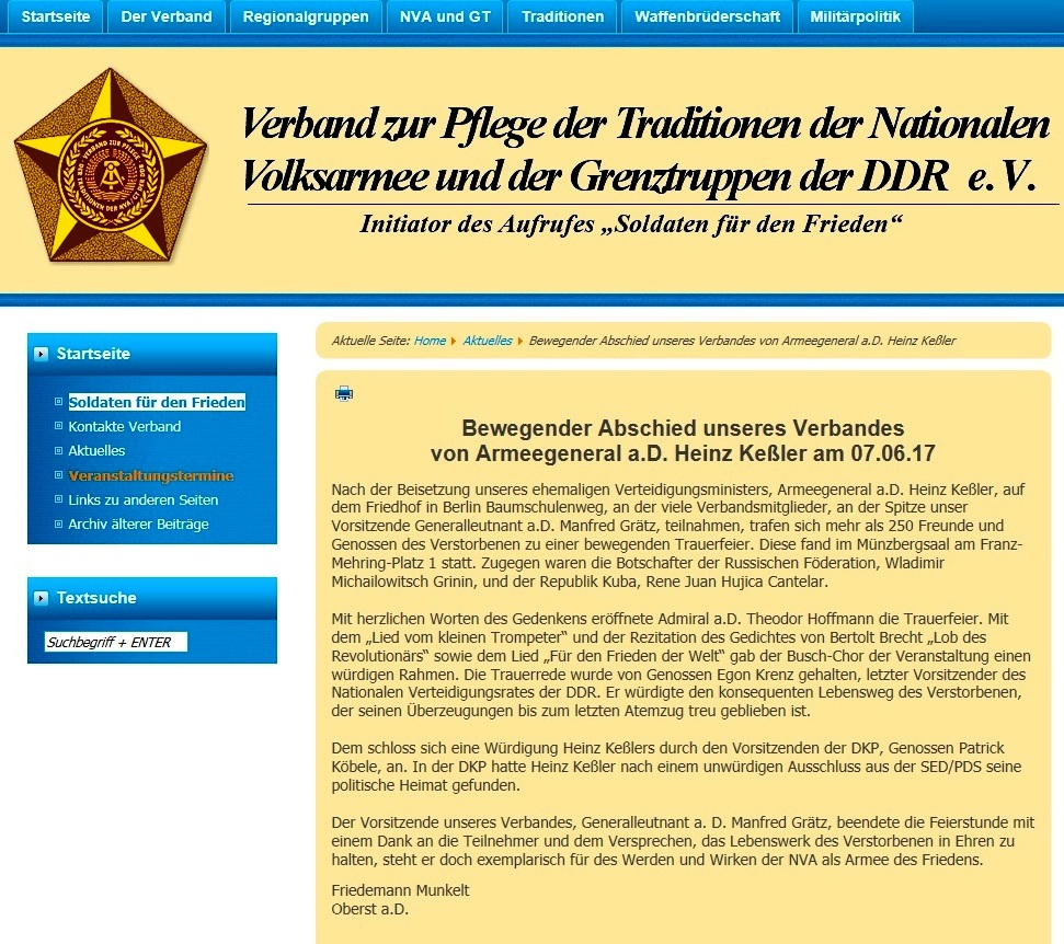Bewegender Abschied des Verbandes zur Pflege der Traditionen der Nationalen Volksarmee und der Grenztruppen der DDR e.V.  von Armeegeneral a.D. Heinz Keßler am 07.06.17