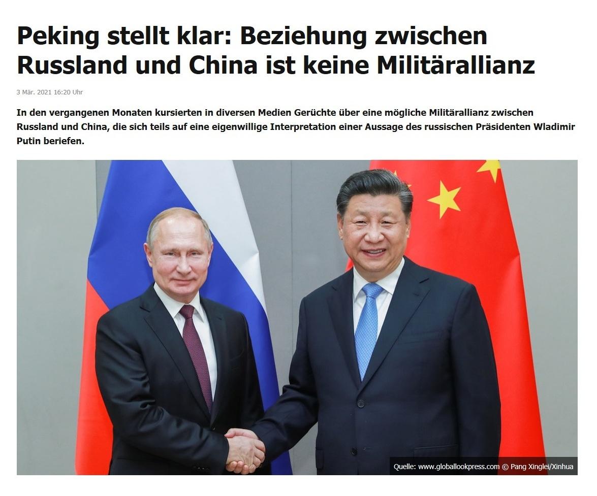 Peking stellt klar: Beziehung zwischen Russland und China ist keine Militärallianz - RT DE - 3 Mär. 2021 06:00 Uhr