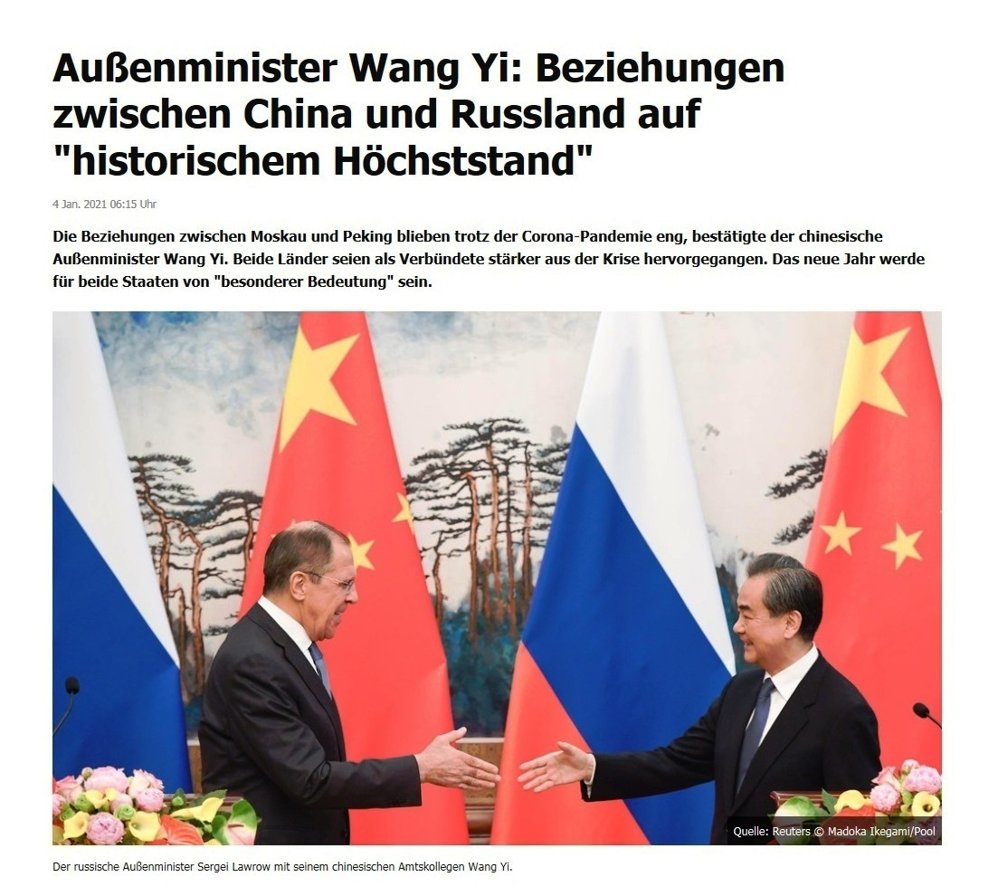 Außenminister Wang Yi: Beziehungen zwischen China und Russland auf 'historischem Höchststand' - RT DE - 4 Jan. 2021 06:15 Uhr