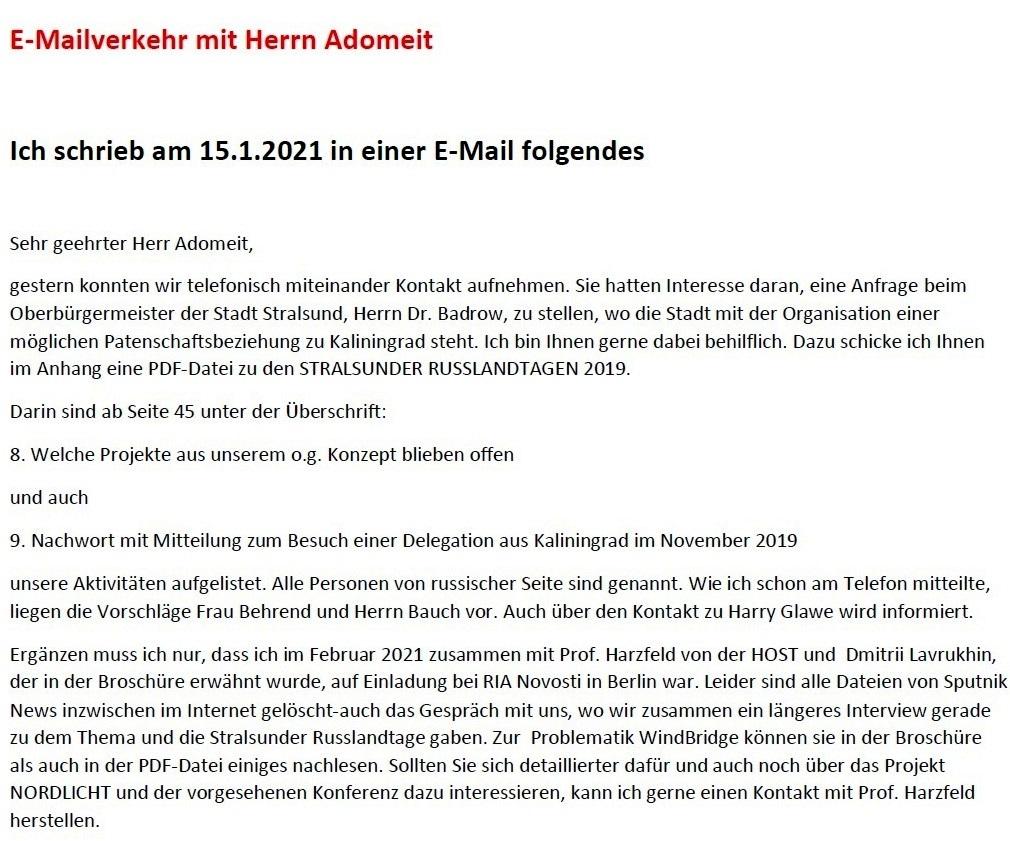 Beziehungen zu Kaliningrad - E-Mail-Verkehr mit Herrn Michael Adomeit wegen der Beziehungen zu Kaliningrad - Aus dem Posteingang von Siegfried Dienel vom 27.04.2021 - Abschnitt 1