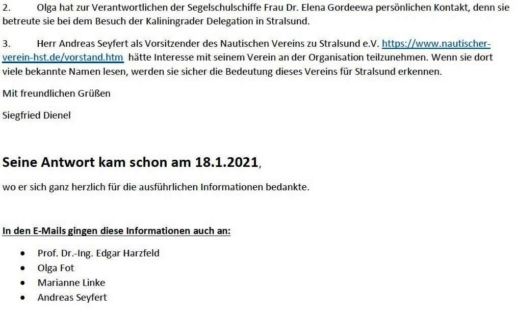 Beziehungen zu Kaliningrad - E-Mail-Verkehr mit Herrn Michael Adomeit wegen der Beziehungen zu Kaliningrad - Aus dem Posteingang von Siegfried Dienel vom 27.04.2021 - Abschnitt 3