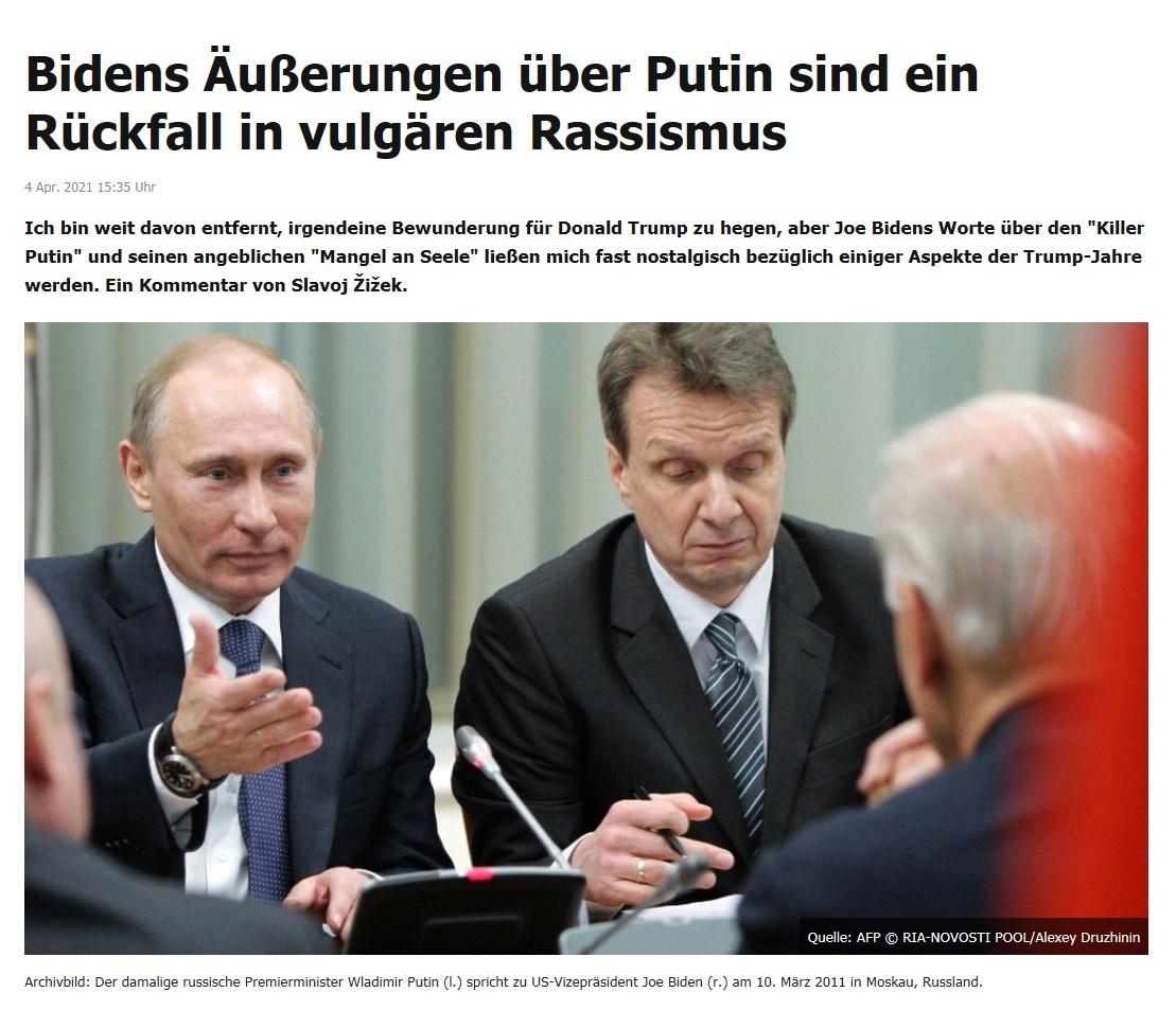 Bidens Äußerungen über Putin sind ein Rückfall in vulgären Rassismus -  RT DE - 4 Apr. 2021 15:35 Uhr