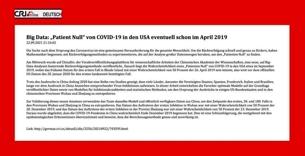 """Big Data: """"Patient Null"""" von COVID-19 in den USA eventuell schon im April 2019 - 22.09.2021 21:16:02 - CRI online Deutsch - Link: http://german.cri.cn/aktuell/alle/3250/20210922/703595.html"""