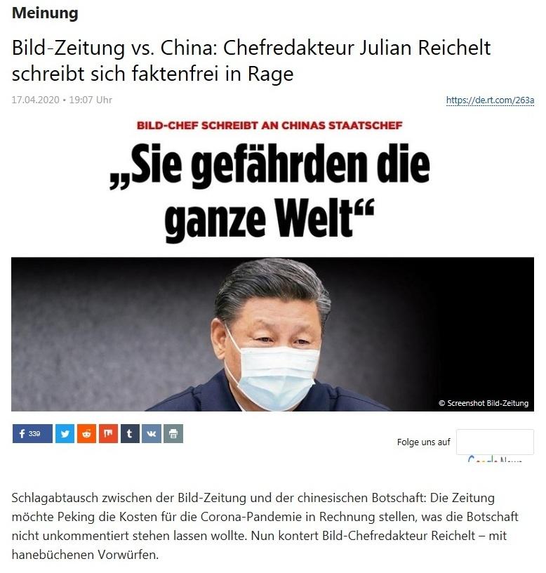 Meinung - Bild-Zeitung vs. China: Chefredakteur Julian Reichelt schreibt sich faktenfrei in Rage - RT Deutsch - 17.04.2020