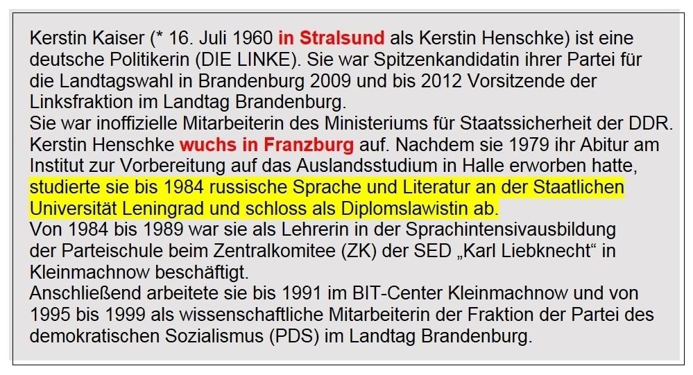 Aus dem Posteingang von Siegfried Dienel vom 08.02.2021  - Biografie von Kerstin Kaiser bei Wikipedia