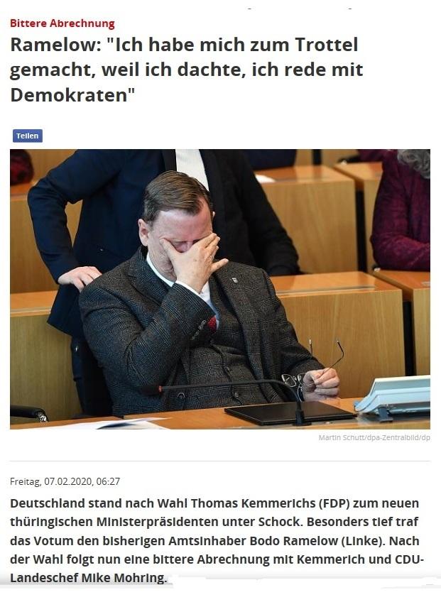 Bitte Abrechnung - Bodo Ramelow: 'Ich habe mich zum Trottel gemacht, weil ich dachte, ich rede mit Demokraten'