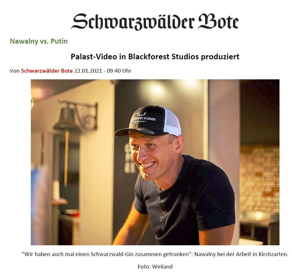 Schwarzwälder Bote - Palast-Video in Blackforest Studios produziert - Schwarzwälder Bote - 22.01.2021 - 09:40 Uhr - Aus dem Posteingang von Siegfried Dienel vom 25.01.2021 - Abschnitt 1 von 4 Abschnitten