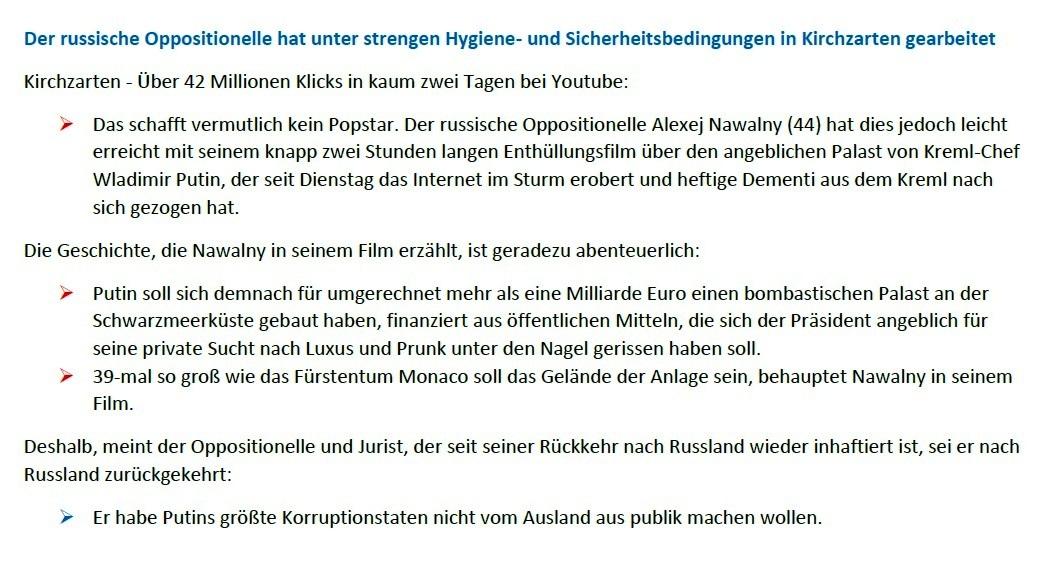 Schwarzwälder Bote - Palast-Video in Blackforest Studios produziert - Schwarzwälder Bote - 22.01.2021 - 09:40 Uhr - Aus dem Posteingang von Siegfried Dienel vom 25.01.2021 - Abschnitt 2 von 4 Abschnitten