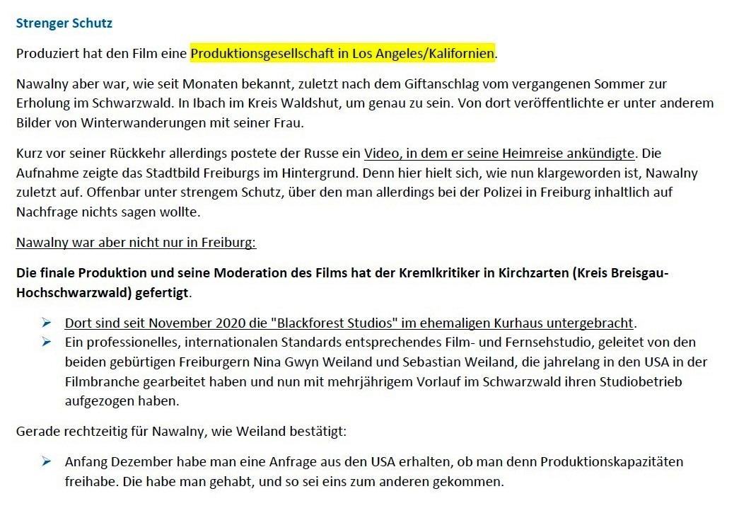 Schwarzwälder Bote - Palast-Video in Blackforest Studios produziert - Schwarzwälder Bote - 22.01.2021 - 09:40 Uhr - Aus dem Posteingang von Siegfried Dienel vom 25.01.2021 - Abschnitt 3 von 4 Abschnitten