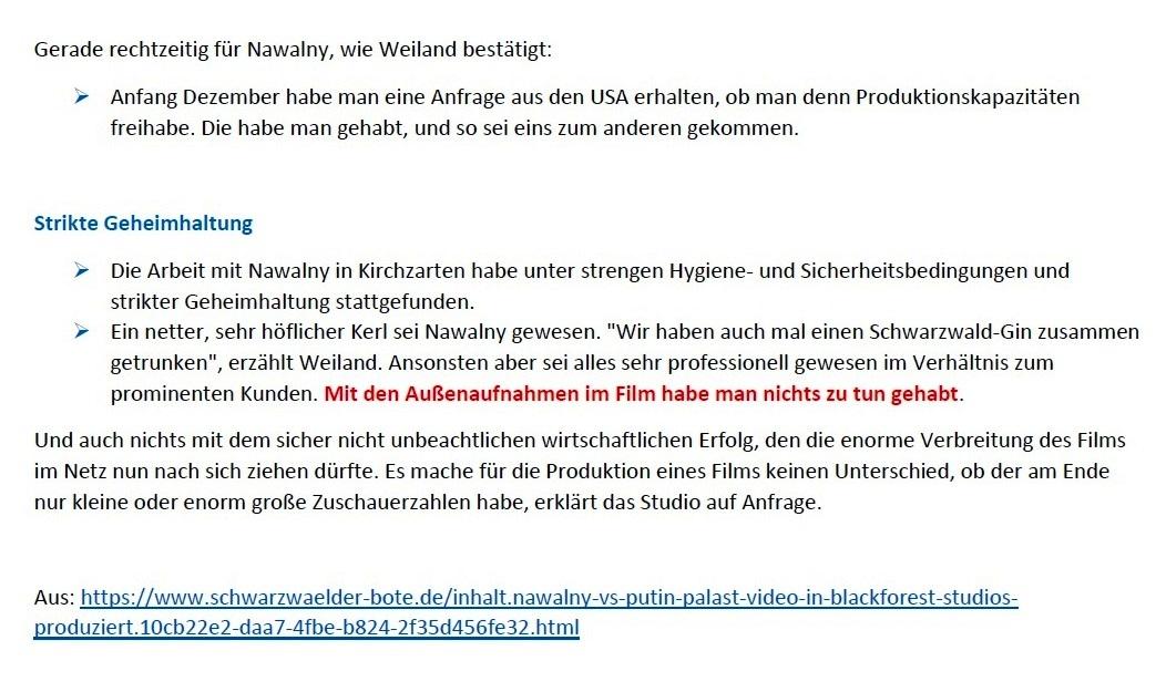 Schwarzwälder Bote - Palast-Video in Blackforest Studios produziert - Schwarzwälder Bote - 22.01.2021 - 09:40 Uhr - Aus dem Posteingang von Siegfried Dienel vom 25.01.2021 - Abschnitt 4 von 4 Abschnitten