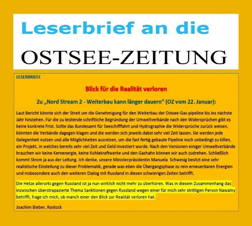 Blick für die Realität verloren - Zu 'Nord Stream2 - Weiterbau kann länger dauern' (OZ vom 22. Januar 2021) -  Leserbrief von Joachim Bieber aus Rostock an die Ostsee-Zeitung - Aus dem Posteingang von Siegfried Dienel vom 31.01.2021 - PDF