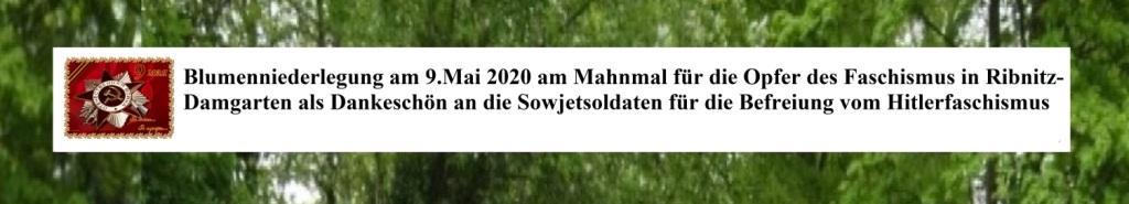 Blumenniederlegung am 9.Mai 2020 am Mahnmal für Opfer des Faschismus in Ribnitz-Damgarten als Dankeschön an die Sowjetsoldaten für die Befreiung vom Hitlerfaschismus. Die Rote Armee trug die Hauptlast bei der Befreiung vom Hitlerfaschismus.