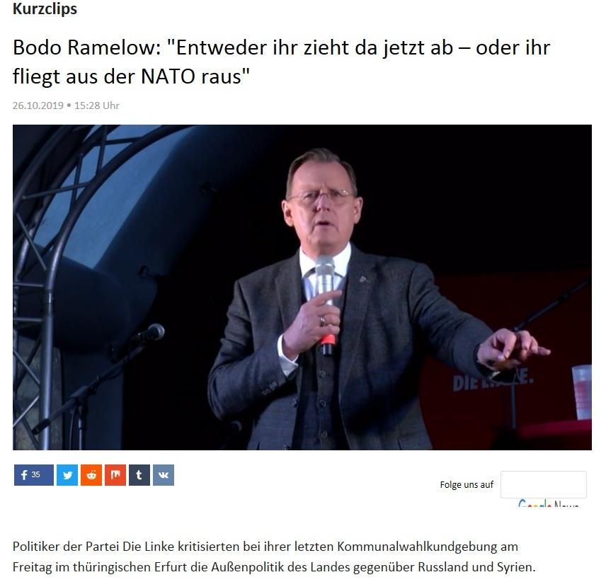 Kurzclips - Bodo Ramelow: 'Entweder ihr zieht da jetzt ab – oder ihr fliegt aus der NATO raus'