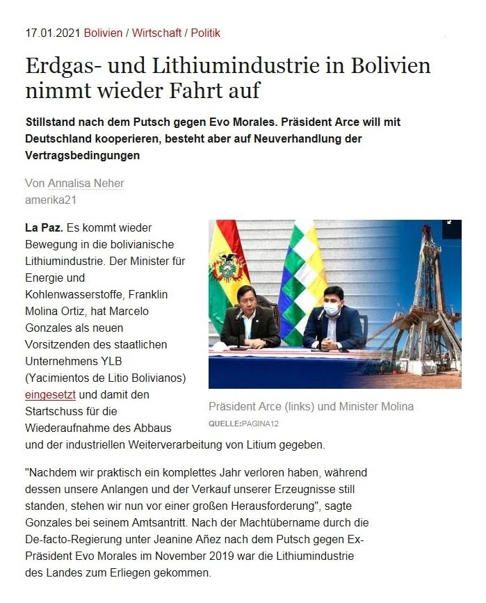 Erdgas- und Lithiumindustrie in Bolivien nimmt wieder Fahrt auf - Stillstand nach dem Putsch gegen Evo Morales. Präsident Arce will mit Deutschland kooperieren, besteht aber auf Neuverhandlung der Vertragsbedingungen - Von Annalisa Nehe - amerika21 - Nachrichten und Analysen aus Lateinamerika - 17.01.2021