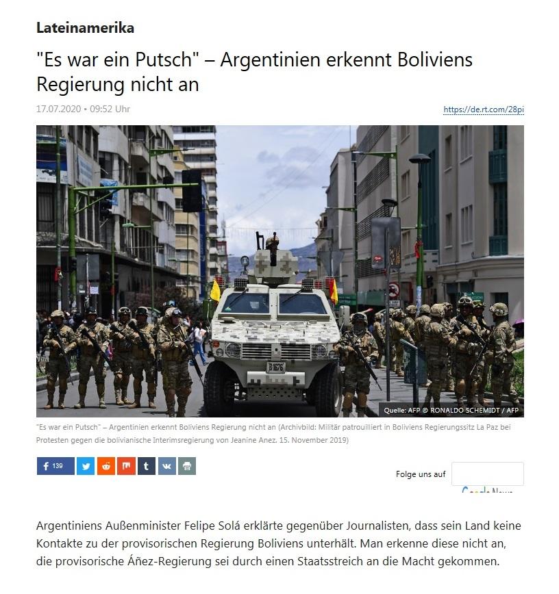 Lateinamerika - 'Es war ein Putsch' – Argentinien erkennt Boliviens Regierung nicht an  - RT Deutsch - 17.07.2020