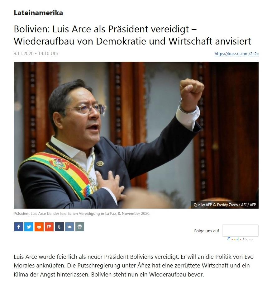 Lateinamerika - Bolivien: Luis Arce als Präsident vereidigt – Wiederaufbau von Demokratie und Wirtschaft anvisiert - RT Deutsch - 09.11.2020