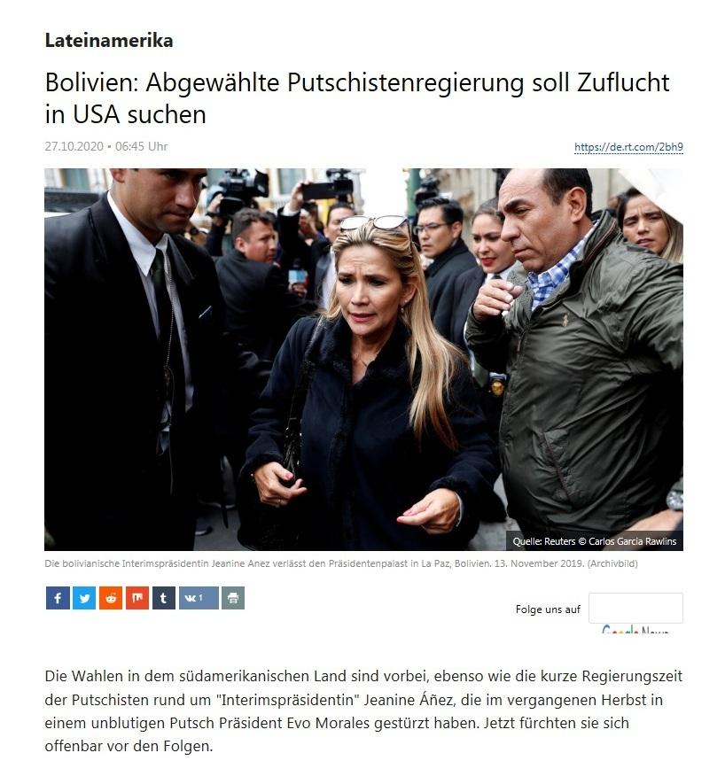 Lateinamerika - Bolivien: Abgewählte Putschistenregierung soll Zuflucht in USA suchen  - RT Deutsch - 27.10.2020
