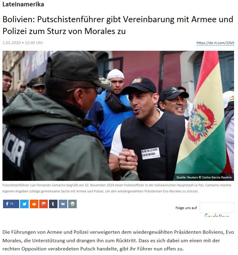 Lateinamerika - Bolivien: Putschistenführer gibt Vereinbarung mit Armee und Polizei zum Sturz von Morales zu