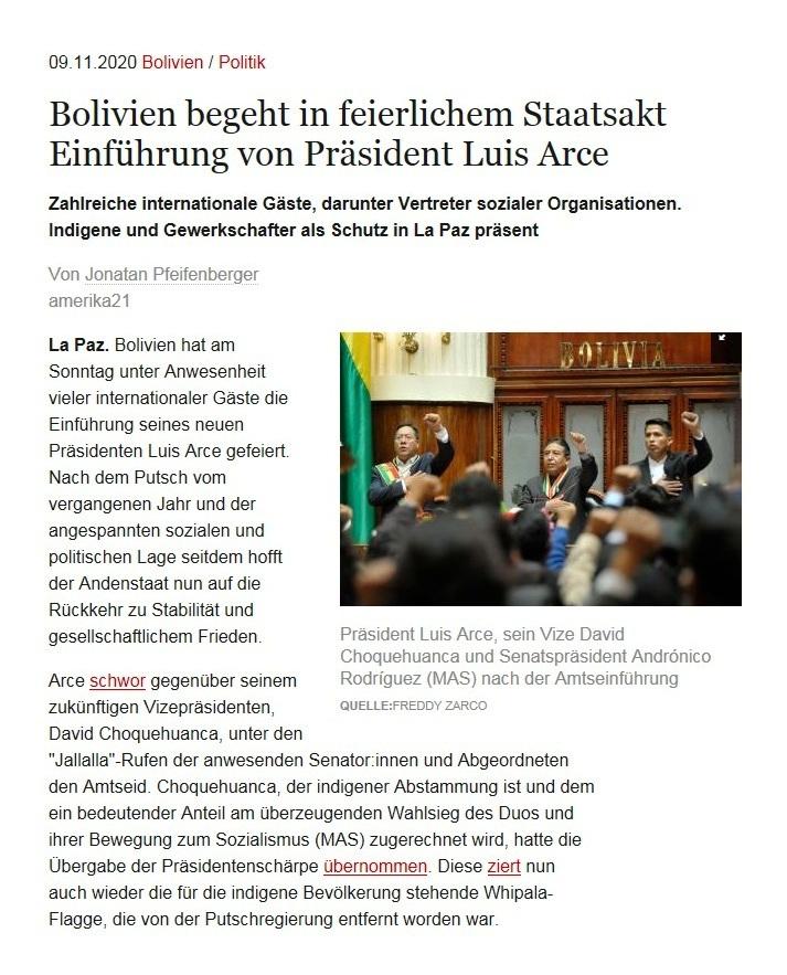 Bolivien begeht in feierlichem Staatsakt Einführung von Präsident Luis Arce - Zahlreiche internationale Gäste, darunter Vertreter sozialer Organisationen. Indigene und Gewerkschafter als Schutz in La Paz präsent - Von Jonatan Pfeifenberger - amerika21 - Nachrichten und Analysen aus Lateinamerika - 09.11.2020