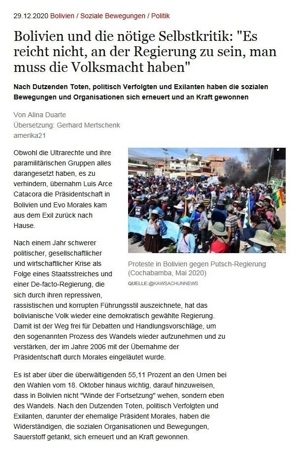Bolivien und die nötige Selbstkritik: 'Es reicht nicht, an der Regierung zu sein, man muss die Volksmacht haben' - Von Alina Duarte - Übersetzung: Gerhard Mertschenk - amerika21 - Nachrichten und Analysen aus Lateinamerika - 29.12.2020