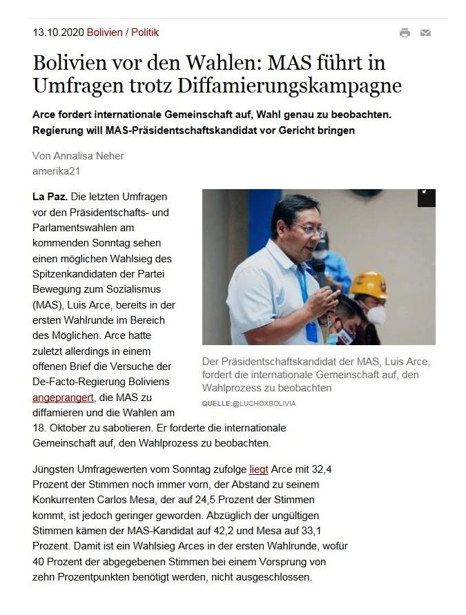 Bolivien vor den Wahlen: MAS führt in Umfragen trotz Diffamierungskampagne - Arce fordert internationale Gemeinschaft auf, Wahl genau zu beobachten. Regierung will MAS-Präsidentschaftskandidat vor Gericht bringen - amerika21 - Nachrichten und Analysen aus Lateinamerika - 13.10.2020