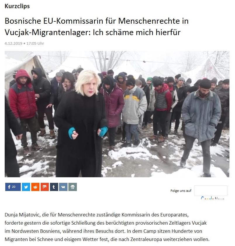 Kurzclips - Bosnische EU-Kommissarin für Menschenrechte in Vucjak-Migrantenlager: Ich schäme mich hierfür