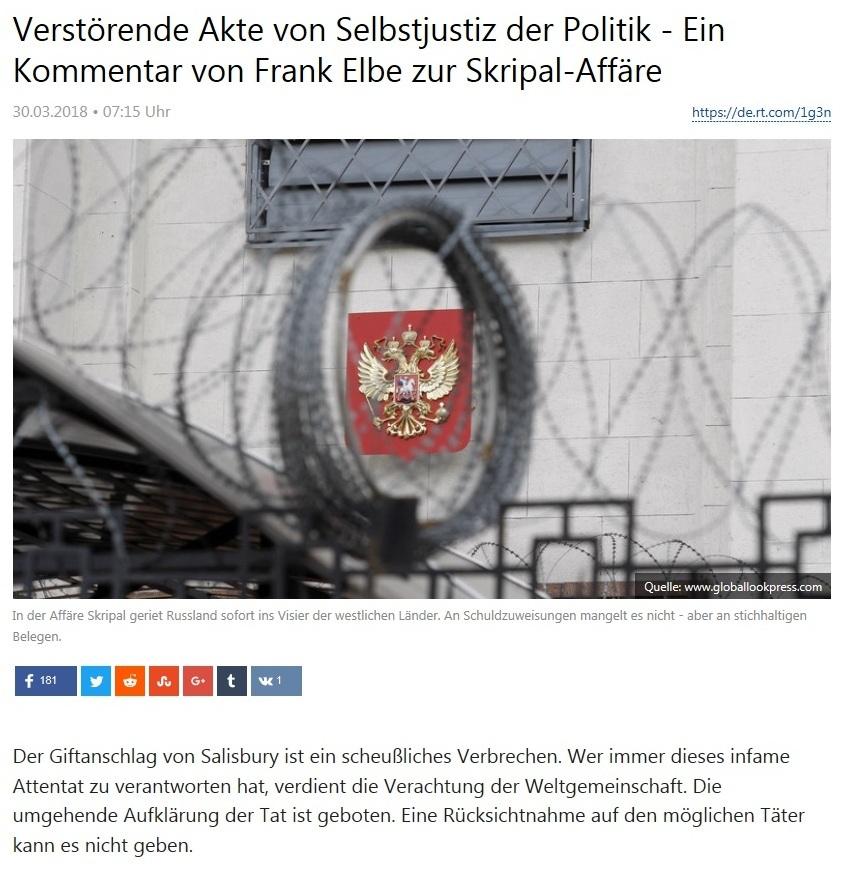 Meinung - Verstörende Akte von Selbstjustiz der Politik - Ein Kommentar von Frank Elbe zur Skripal-Affäre