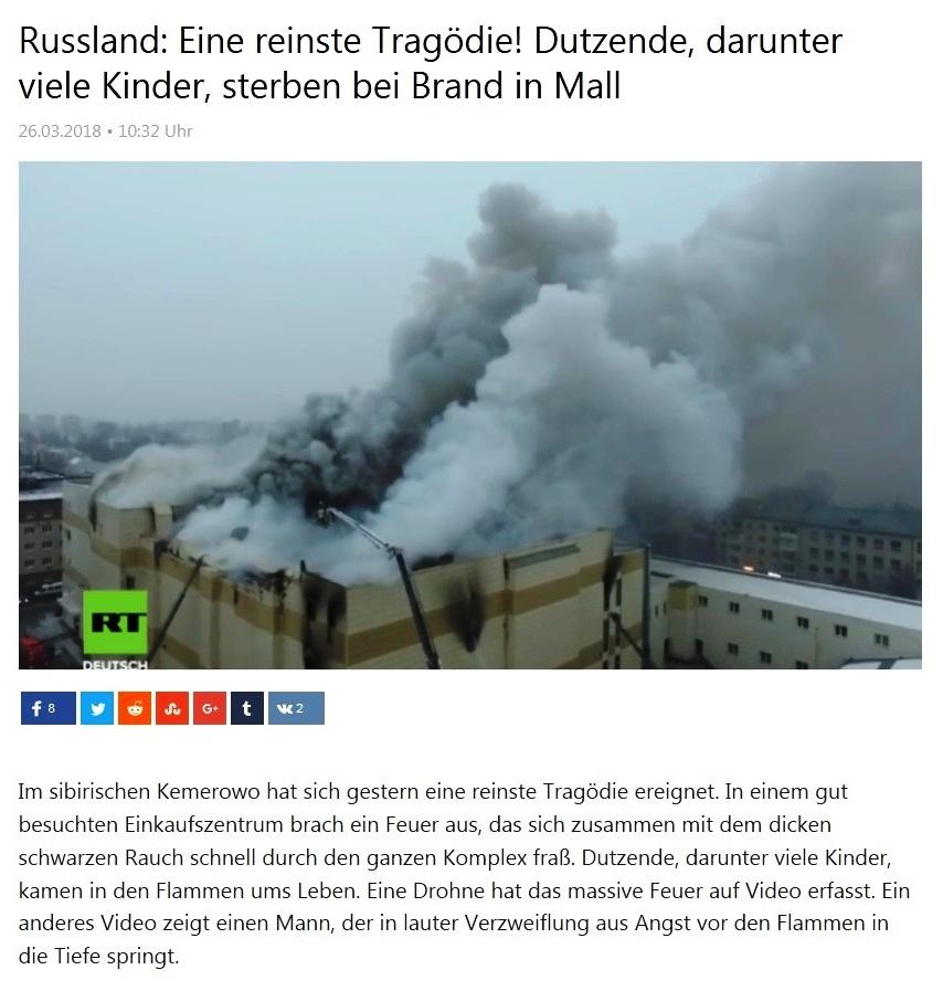 Kurzclips - Russland: Eine reinste Tragödie! Dutzende, darunter viele Kinder, sterben bei Brand in Mall