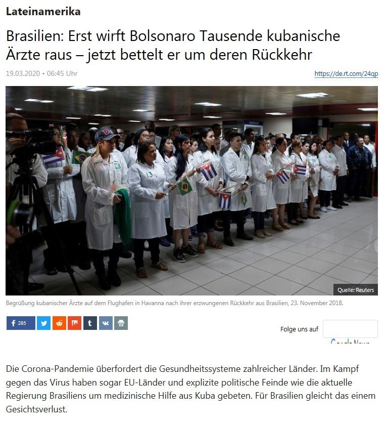 Lateinamerika - Brasilien: Erst wirft Bolsonaro Tausende kubanische Ärzte raus – jetzt bettelt er um deren Rückkehr  - RT Deutsch - 18.03.2020