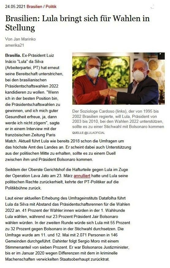 Brasilien: Lula bringt sich für Wahlen in Stellung - Von Jan Marinko - amerika21 - Nachrichten und Analysen aus Lateinamerika - Link: https://amerika21.de/2021/05/250818/lula-fuehrt-umfragen-2022-brasilien - 23.05.2021