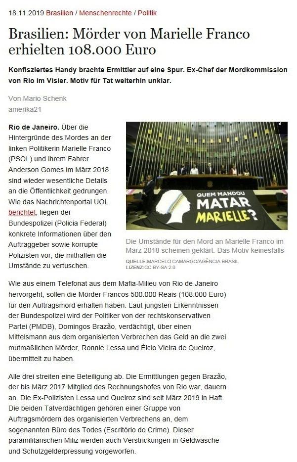 Brasilien: Mörder von Marielle Franco erhielten 108.000 Euro - Konfisziertes Handy brachte Ermittler auf eine Spur. Ex-Chef der Mordkommission von Rio im Visier. Motiv für Tat weiterhin unklar. - Von Mario Schenk - amerika21 - Nachrichten und Analysen aus Lateinamerika - 18.11.2019