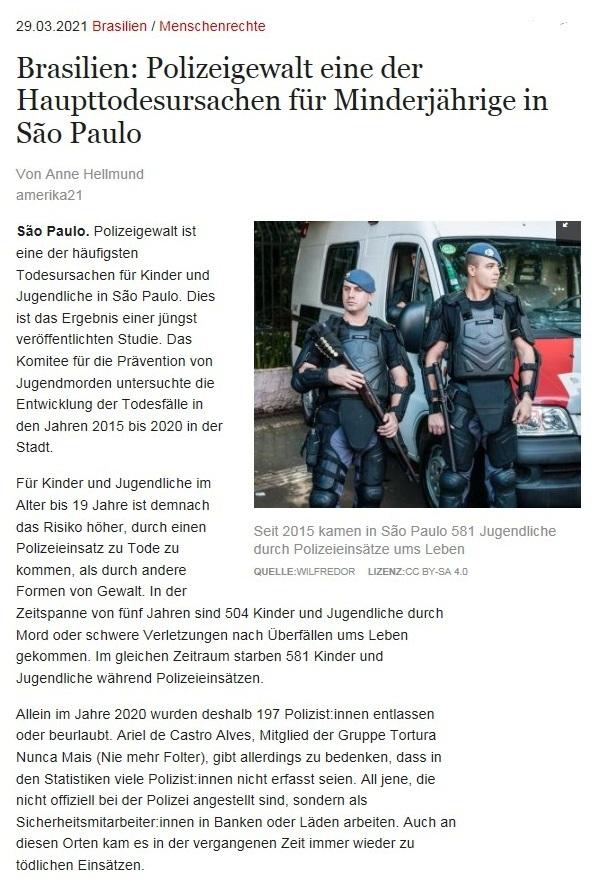 Brasilien: Polizeigewalt eine der Haupttodesursachen für Minderjährige in São Paulo - Von Anne Hellmund - amerika21 - Nachrichten und Analysen aus Lateinamerika - 29.03.2021