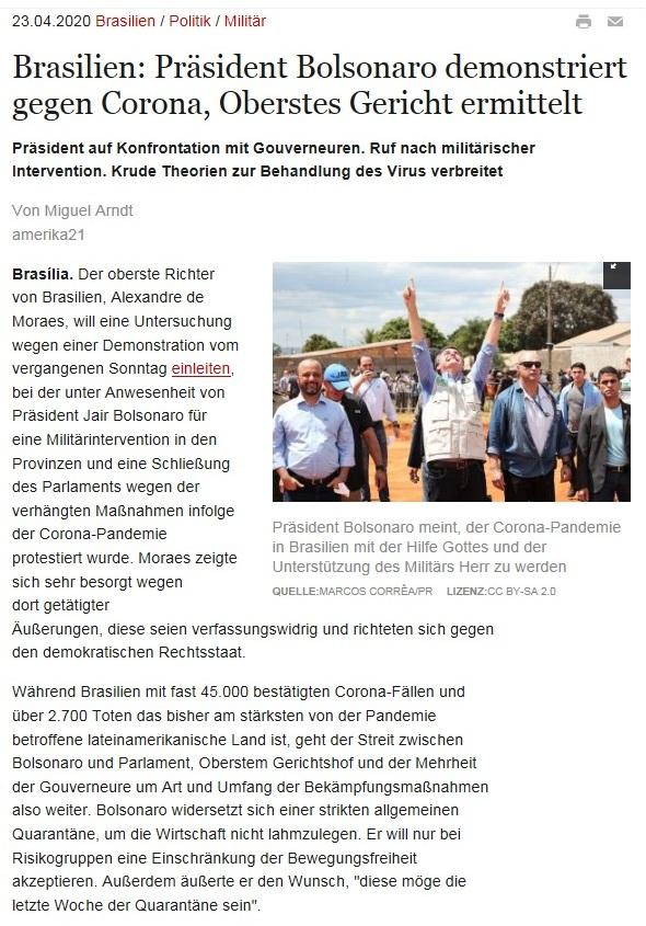 Brasilien: Präsident Bolsonaro demonstriert gegen Corona, Oberstes Gericht ermittelt - amerika21 - Nachrichten und Analysen aus Lateinamerika - 23.04.2020