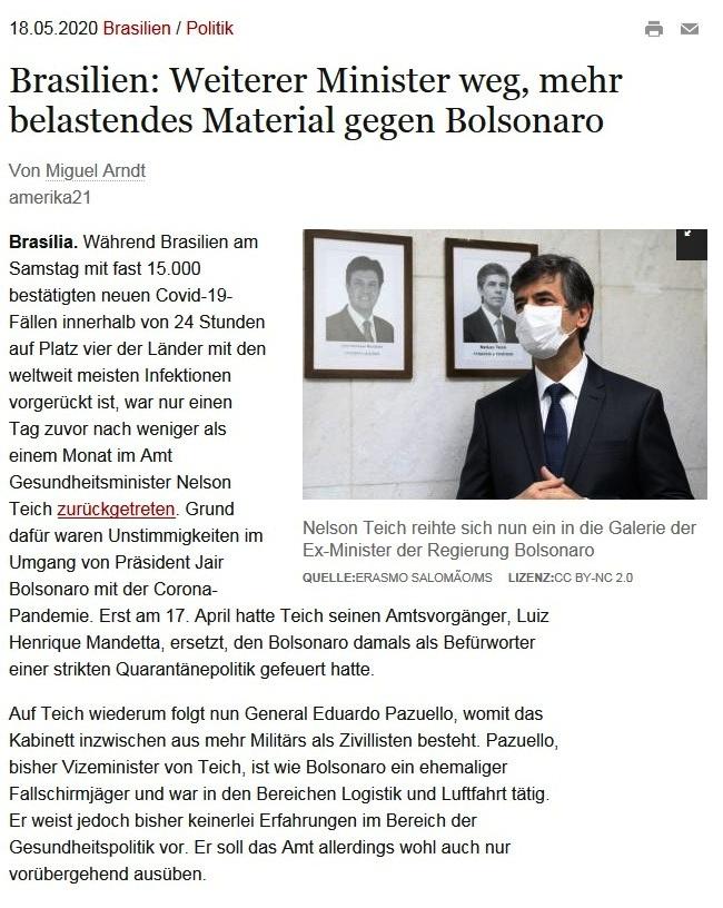 Brasilien: Weiterer Minister weg, mehr belastendes Material gegen Bolsonaro - amerika21 - Nachrichten und Analysen aus Lateinamerika - 18.05.2020