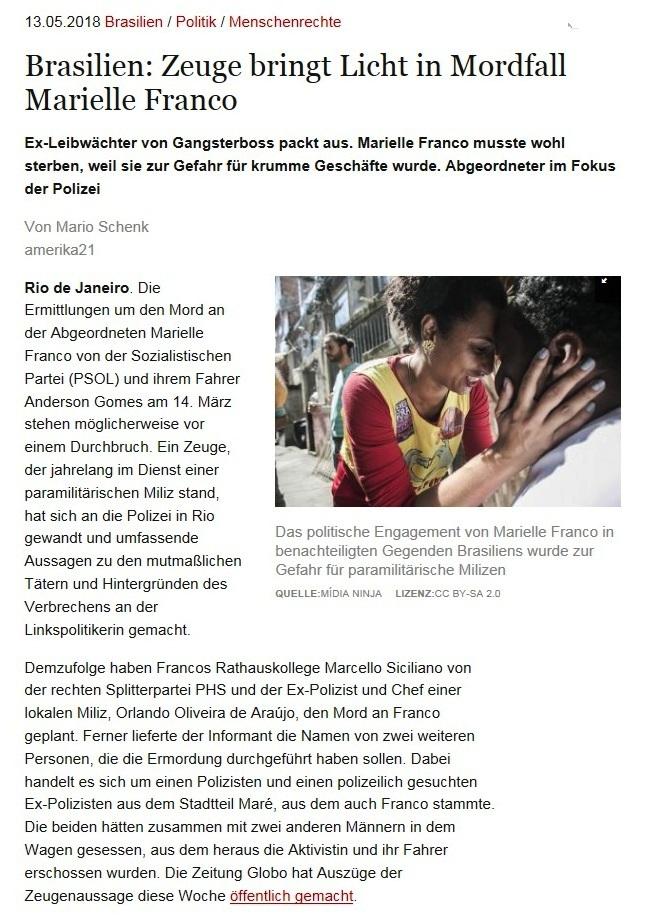 Brasilien: Zeuge bringt Licht in Mordfall Marielle Franco - Ex-Leibwächter von Gangsterboss packt aus. Marielle Franco musste wohl sterben, weil sie zur Gefahr für krumme Geschäfte wurde. Abgeordneter im Fokus der Polizei - Von Mario Schenk - amerika21 - Nachrichten und Analysen aus Lateinamerika - 13.05.2018