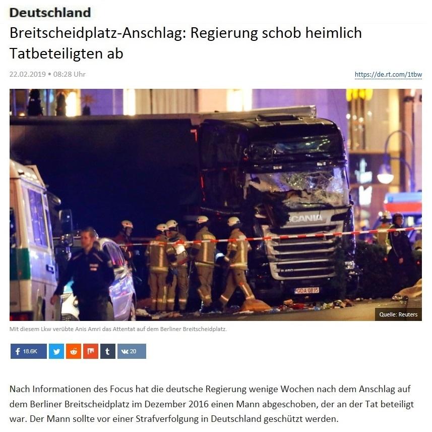 Deutschland - Breitscheidplatz-Anschlag: Regierung schob heimlich Tatbeteiligten ab