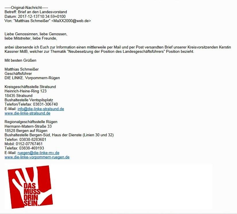 Aus dem Posteingang - Brief der Bundestagsabgeordneten und Kreisvorsitzenden DIE LINKE Vorpommern-Rügen Kerstin Kassner an den den Landesvorstand DIE LINKE Mecklenburg-Vorpommern zur Neuwahl des Landesgeschäftsführers. Kevin Kuhlke, erst acht Monate im Amt, leistete gute Arbeit. Sandro Smolka  mit 8 Ja-Stimmen gegen 7 Nein-Stimmen knapp neuer Landesgeschäftsführer!