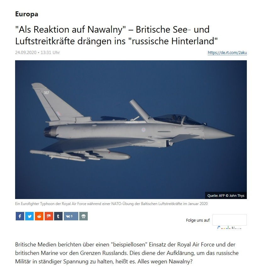 Europa - 'Als Reaktion auf Nawalny' – Britische See- und Luftstreitkräfte drängen ins 'russische Hinterland' - RT Deutsch - 24.09.2020