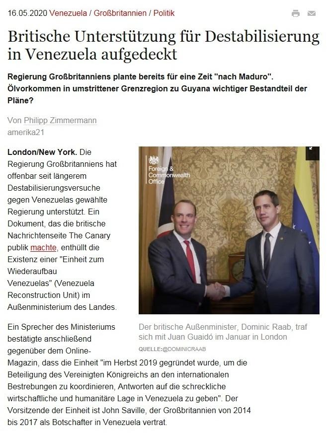 Britische Unterstützung für Destabilisierung in Venezuela aufgedeckt - amerika21 - Nachrichten und Analysen aus Lateinamerika - 16.05.2020