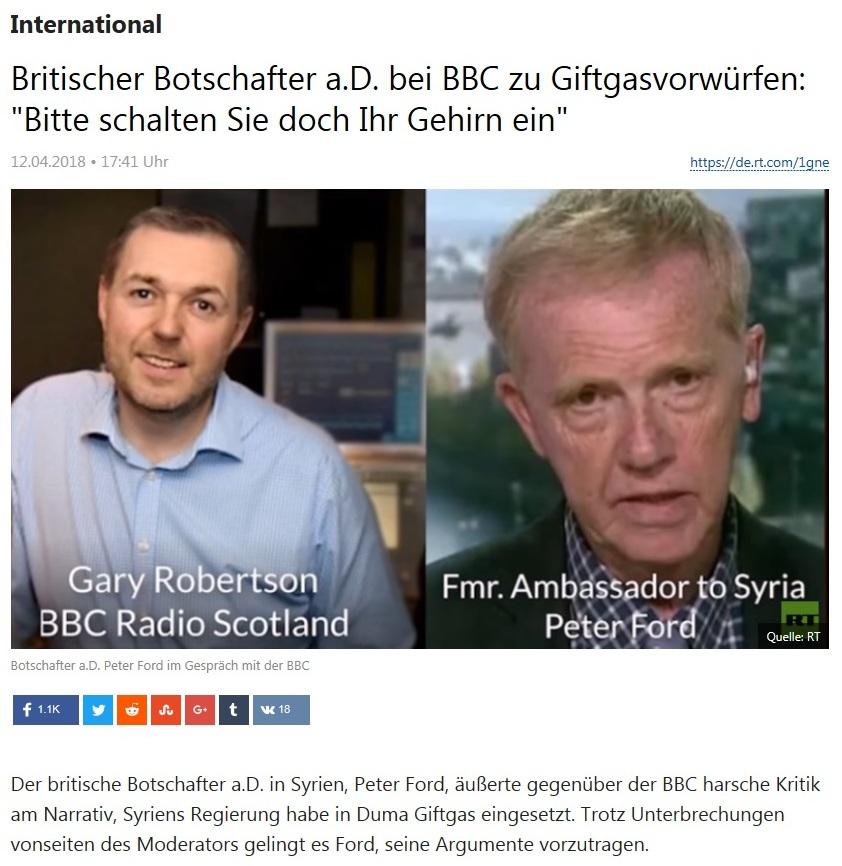 International - Britischer Botschafter a.D. bei BBC zu Giftgasvorwürfen: 'Bitte schalten Sie doch Ihr Gehirn ein'