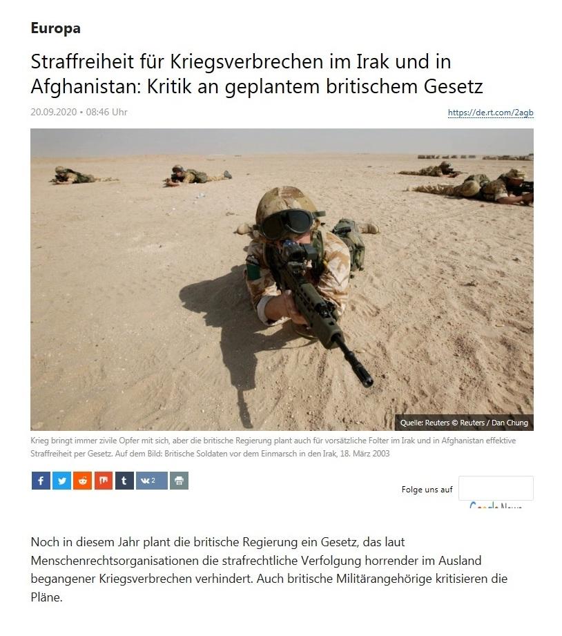 Europa - Straffreiheit für Kriegsverbrechen im Irak und in Afghanistan: Kritik an geplantem britischem Gesetz  - RT Deutsch - 20.09.2020