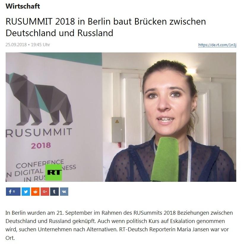 Wirtschaft - RUSUMMIT 2018 in Berlin baut Brücken zwischen Deutschland und Russland