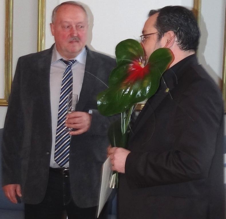 Ribnitz-Damgartens Bürgermeister Frank Ilchmann gab  zu seinem 60.Geburtstag am 8.Januar 2016 einen Empfang im Ribnitzer Rathaus. Fotos: Eckart Kreitlow