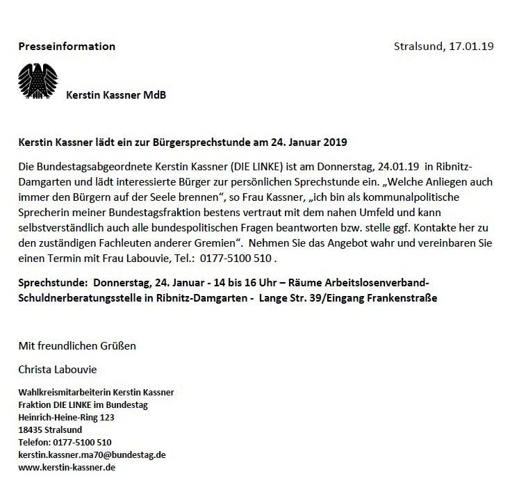 Bürgersprechstunde mit der Bundestagsabgeordneten Kerstin Kassner am 24.01. 2019 in Ribnitz-Damgarten