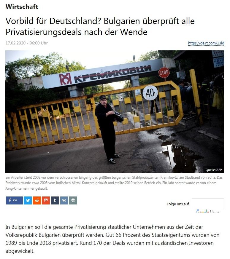 Wirtschaft - Vorbild für Deutschland? Bulgarien überprüft alle Privatisierungsdeals nach der Wende