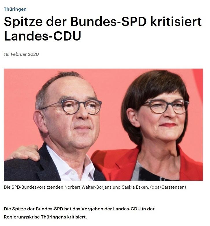 Thüringen - Spitze der Bundes-SPD kritisiert Landes-CDU - 19. Februar 2020