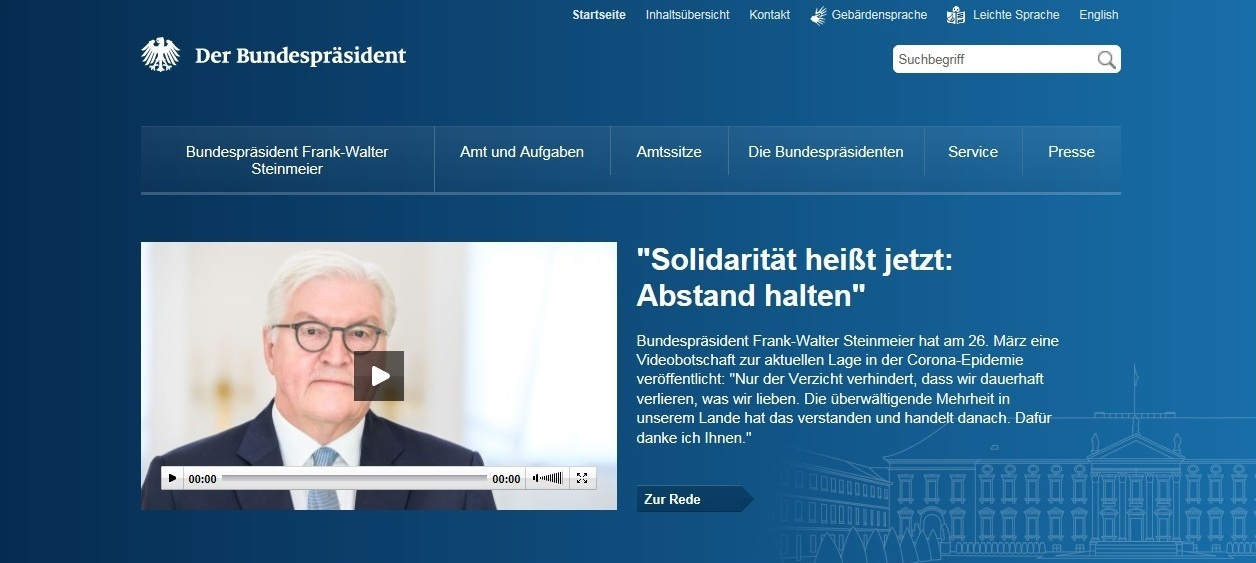 Bundespräsident Frank-Walter Steinmeier: 'Solidarität heißt jetzt: Abstand halten'  - 26.03.2020