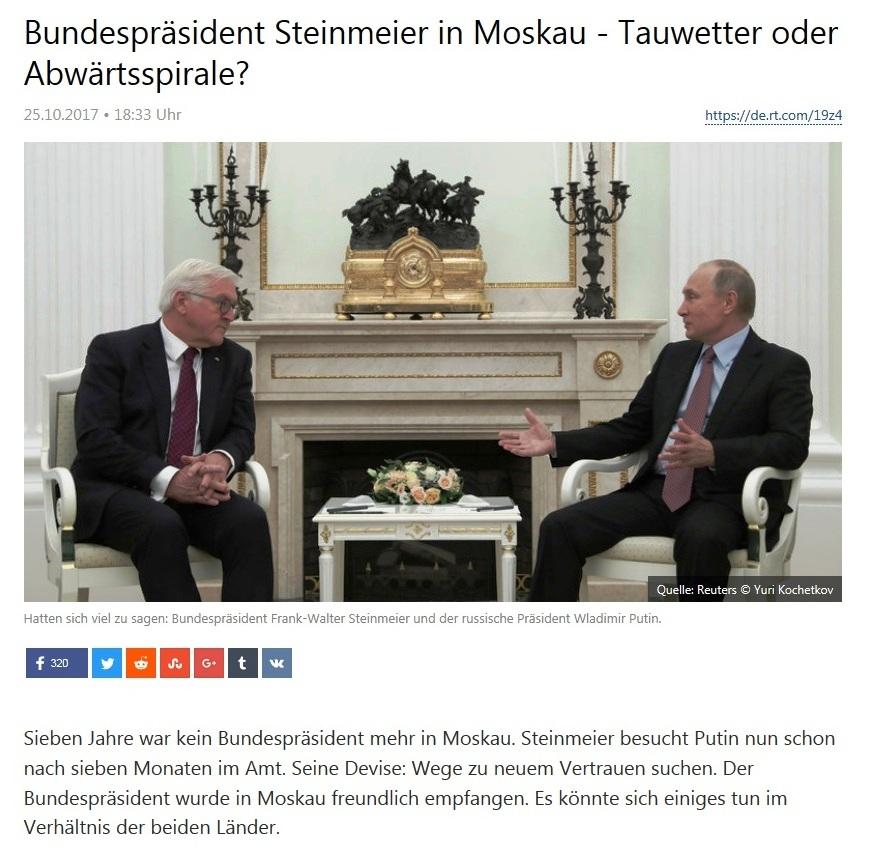 Bundespräsident Steinmeier in Moskau - Tauwetter oder Abwärtsspirale?